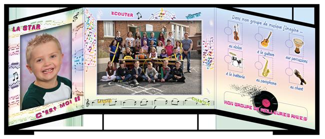 Pochette photo scolaire Triptyque Musique intérieur