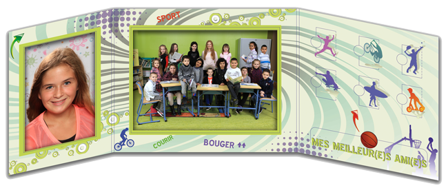 Pochette photo scolaire Triptyque Sport intérieur
